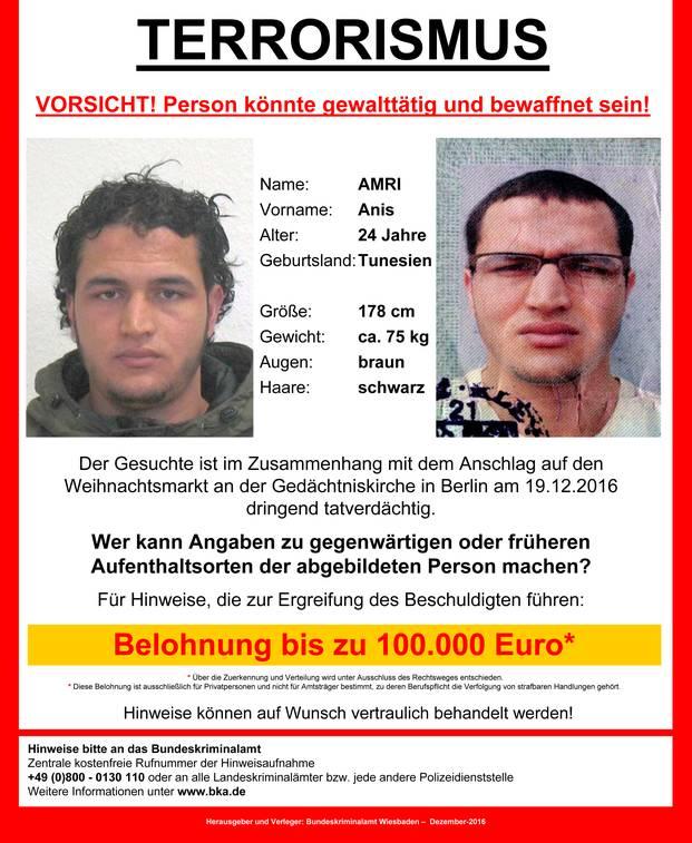 مكافأة 100 ألف يورو لمن يدلي بمعلومات تقود للشاب التونسي أنيس عمري