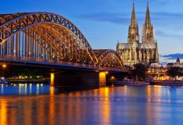 night view of Cologne Cathedral and Hohenzollern Bridge, Cologne, Germany